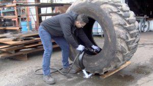 OTR Tire Evacuator In Use